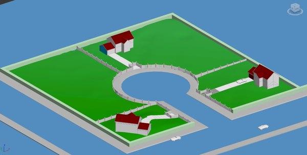 3d model houses cul sac