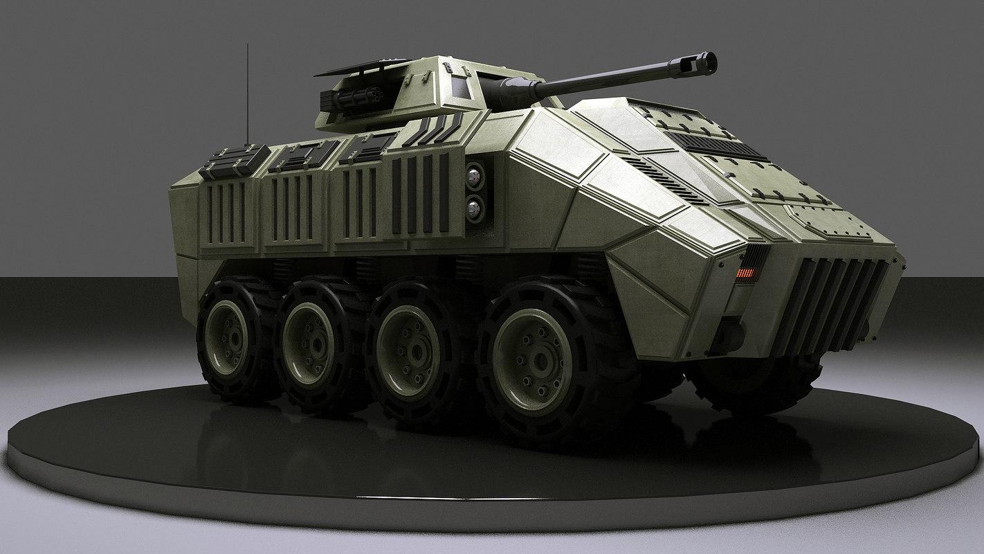 3d military 8 wheels vehicle