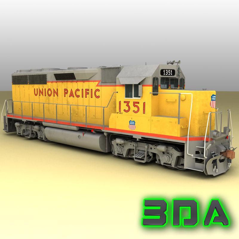 emd gp40-2 railroad engines 3d x