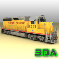 emd gp40-2 railroad engines 3d x