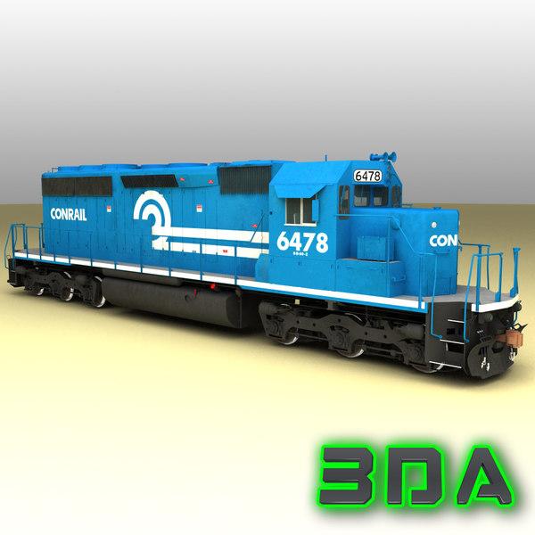 emd sd40-2 engines cr 3d max