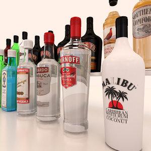 spirit bottles 3d model