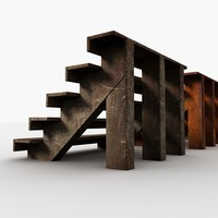 3d model small old wood