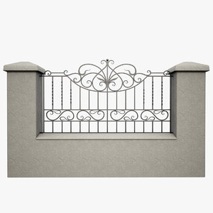 3d wrought iron fence metal model