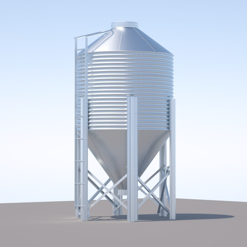 3d chicken silo feed model