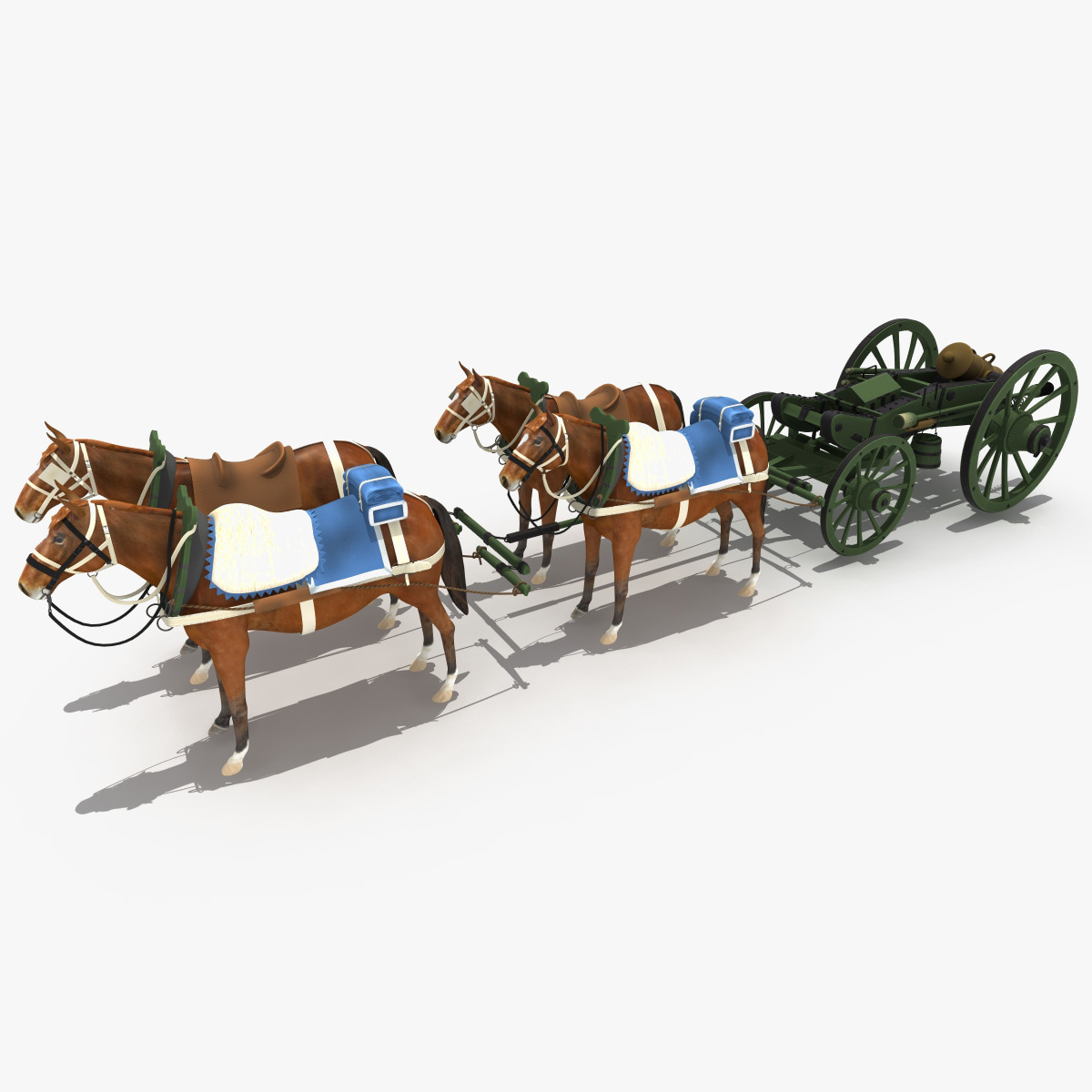 3d gribeauval howitzer limber horses