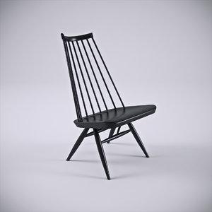 3d model artek mademoiselle lounge chair