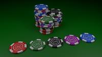 poker chips 3d c4d