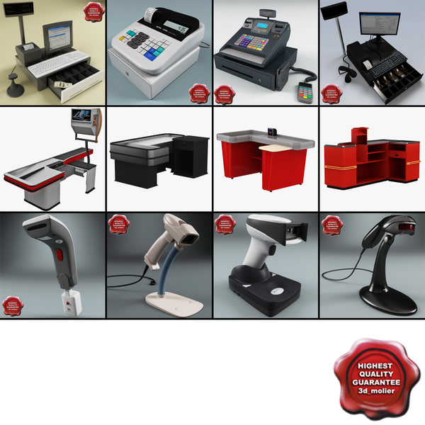 3d model cash counters 3 register