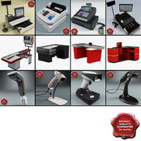 3d model cash counters 3 register