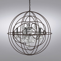 Foucault's Twin-Orb Crystal Chandelier