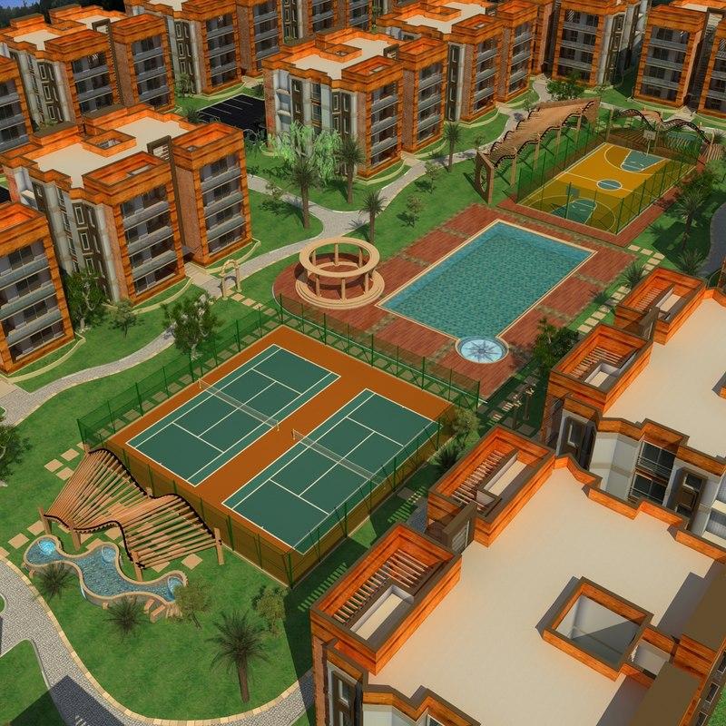 3d model housing modern apartment