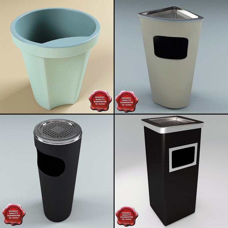 trash cans v1 3d max