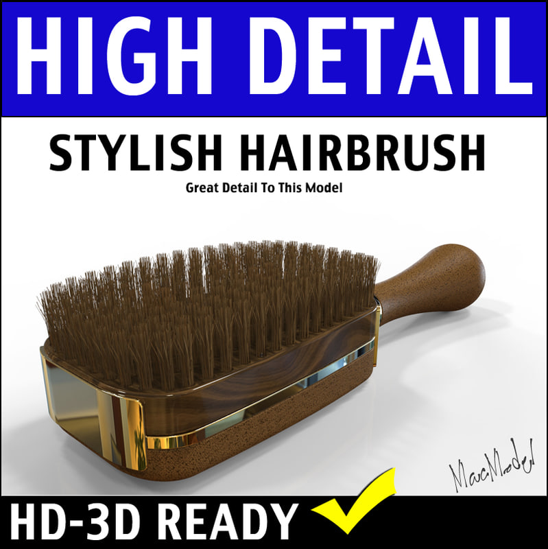 3d designer hairbrush model