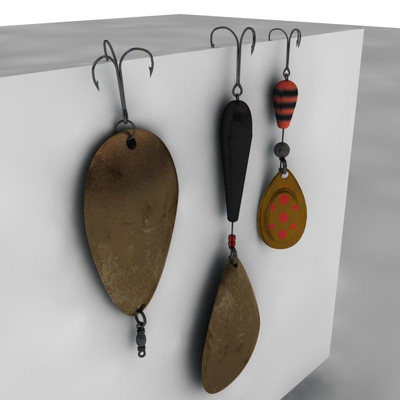 3d fishing lures fishhook model