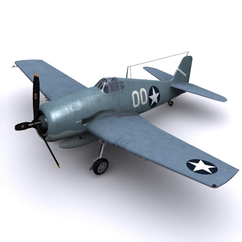 3dsmax f6f hellcat aircraft 1943