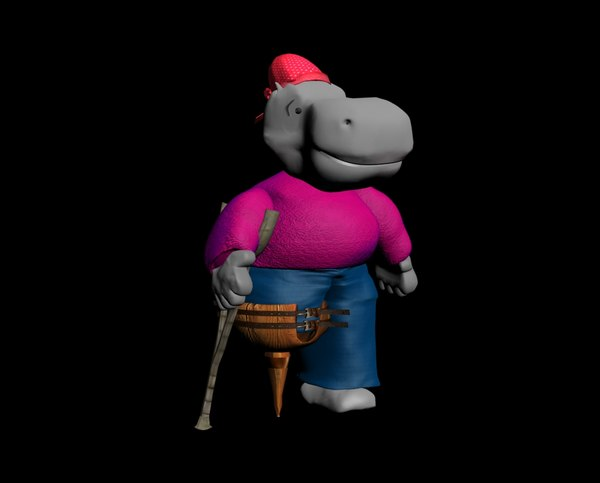 3ds max character hippo pirate