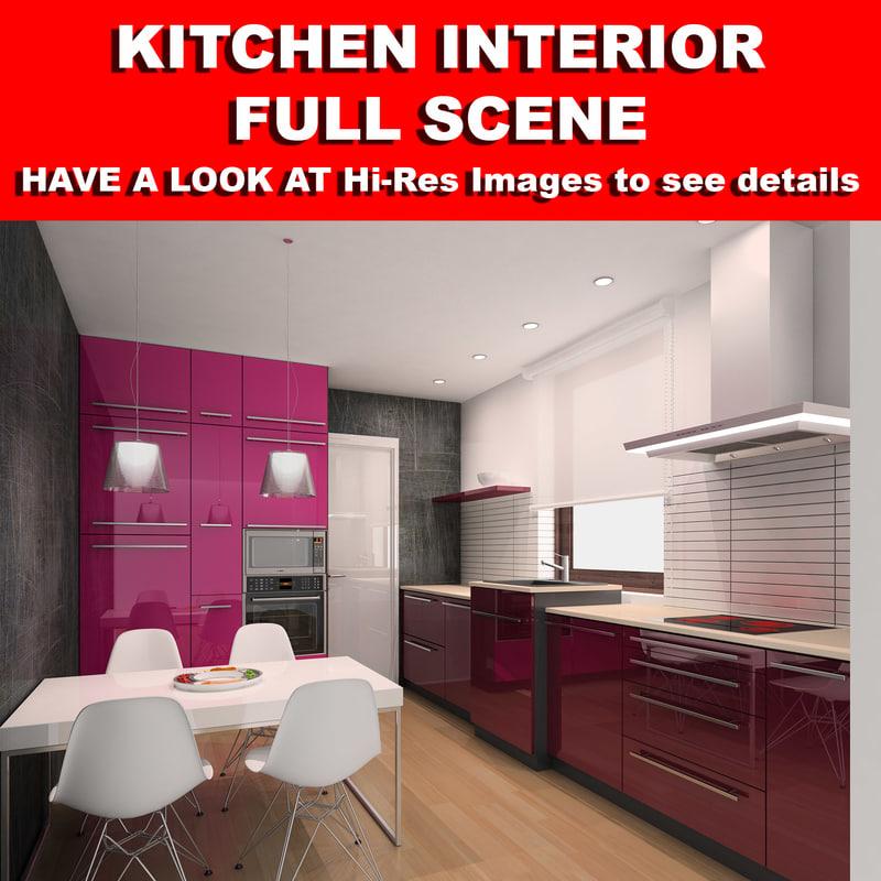 kitchen scene cabinets 3d max