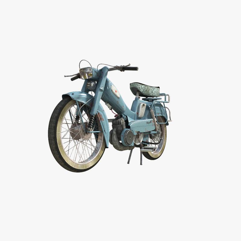 3d mobylette bleu