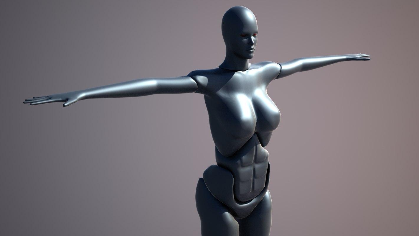 free woman robot 3d model