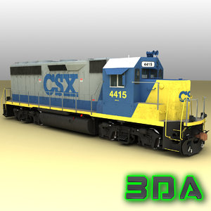 3d emd gp40-2 railroad engines model