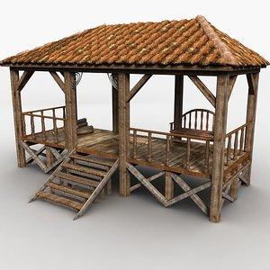 3d veranda wood wooden