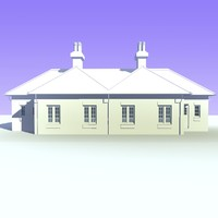 semi detached bungalow houses 3d model