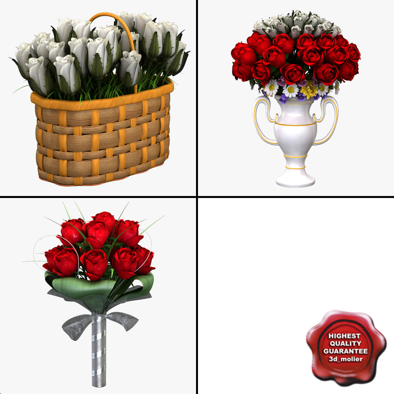 3d bouquets modeled model
