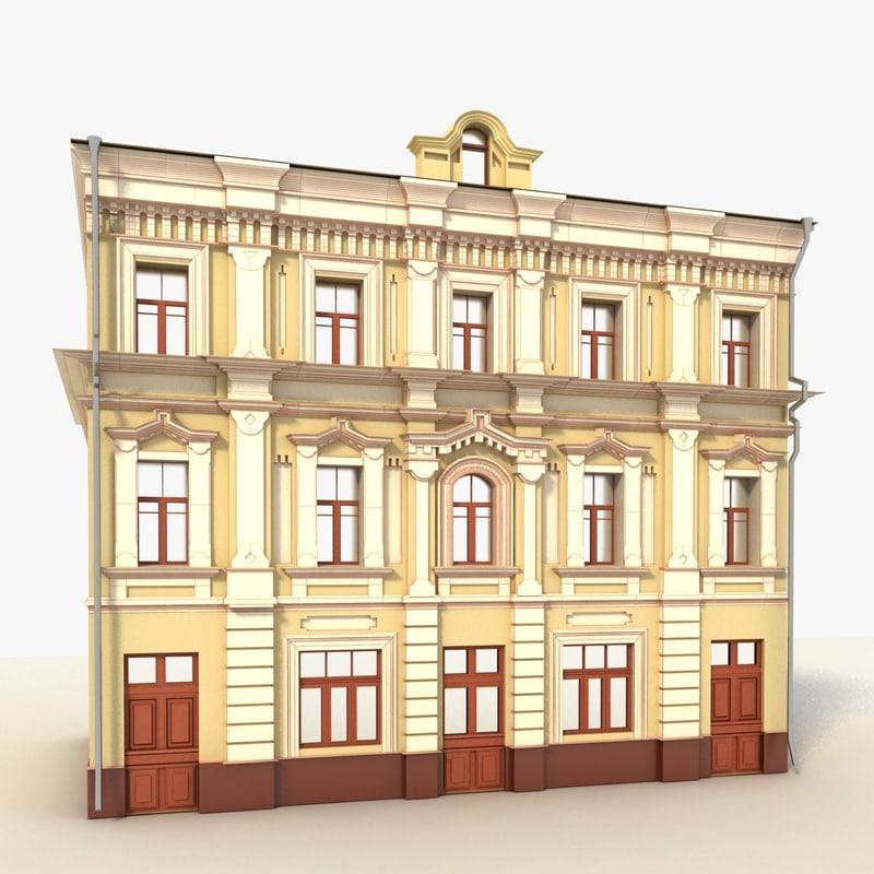 3d model modern building doors