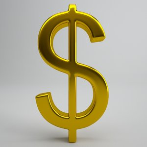 free dollar sign gold 3d model