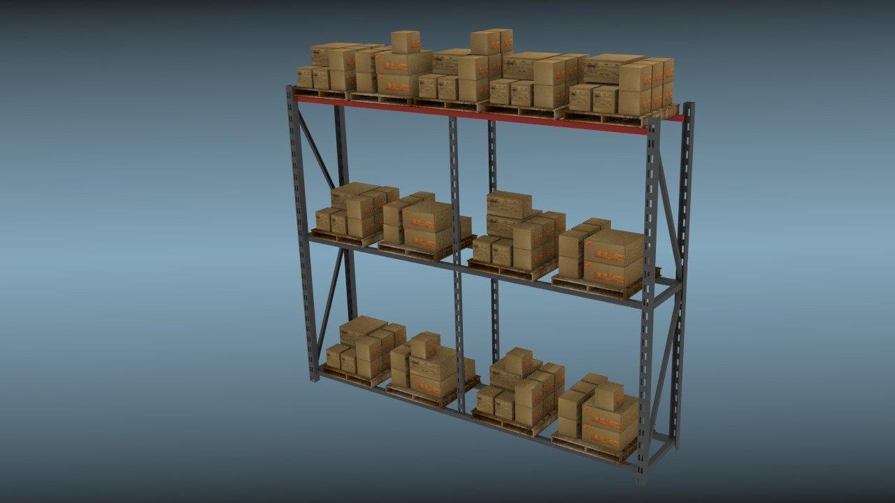 large warehouse rack 3d model