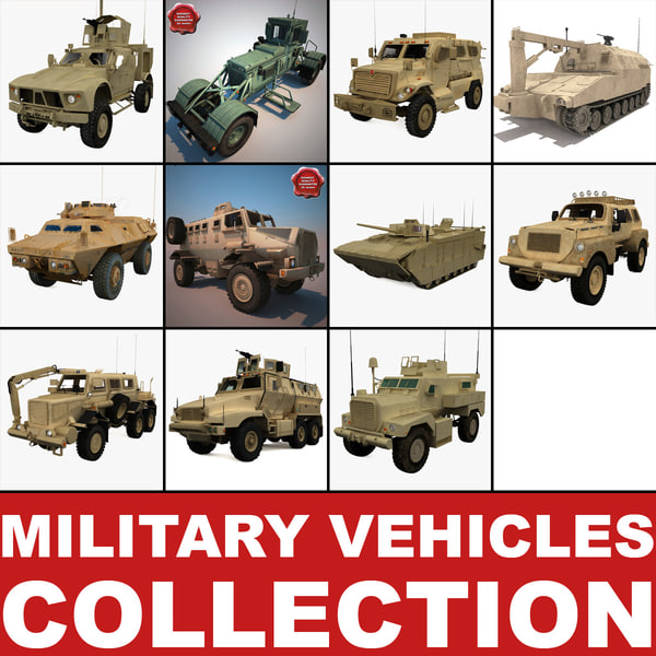 military vehicles v2 3d model