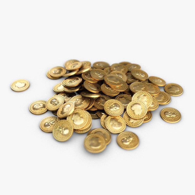 3d small heap gold coins model