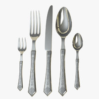 3d obj fork knife spoon