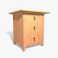 wooden cabinet obj