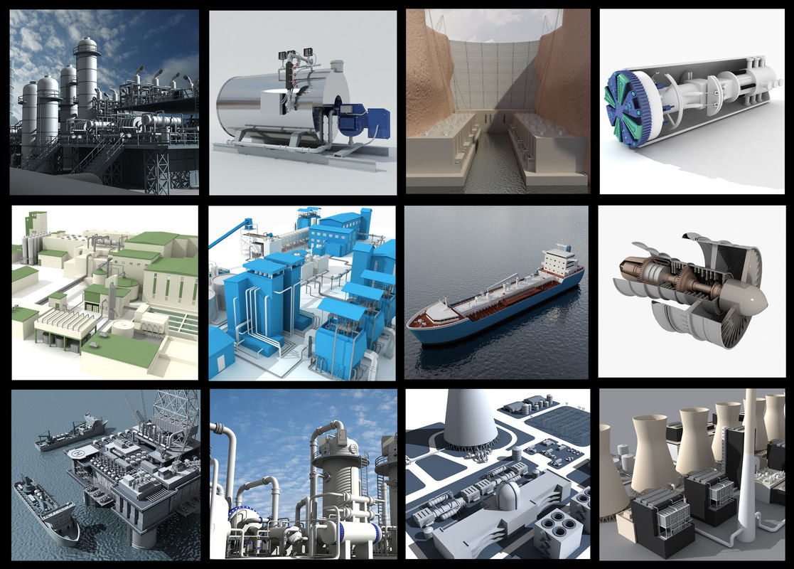 refineries industrial 3d model
