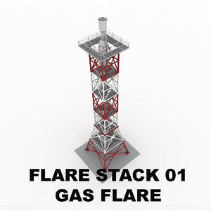 flare stack gas 01 3d model
