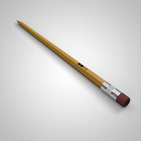 school pencil 3d obj