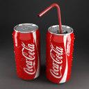 3d coca cola cans red model