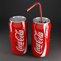 3d coca cola cans red model