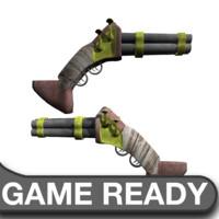 3ds max quad sawed steampunk shotgun