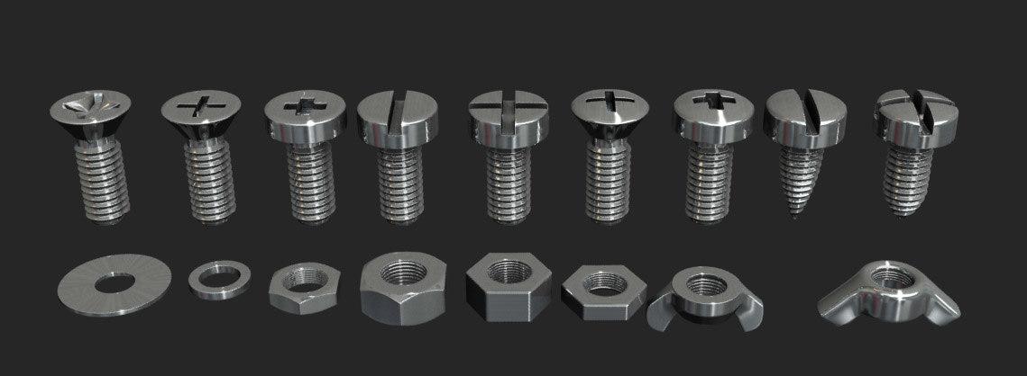 screws bolts 3d model