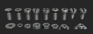 screws bolts 3d model