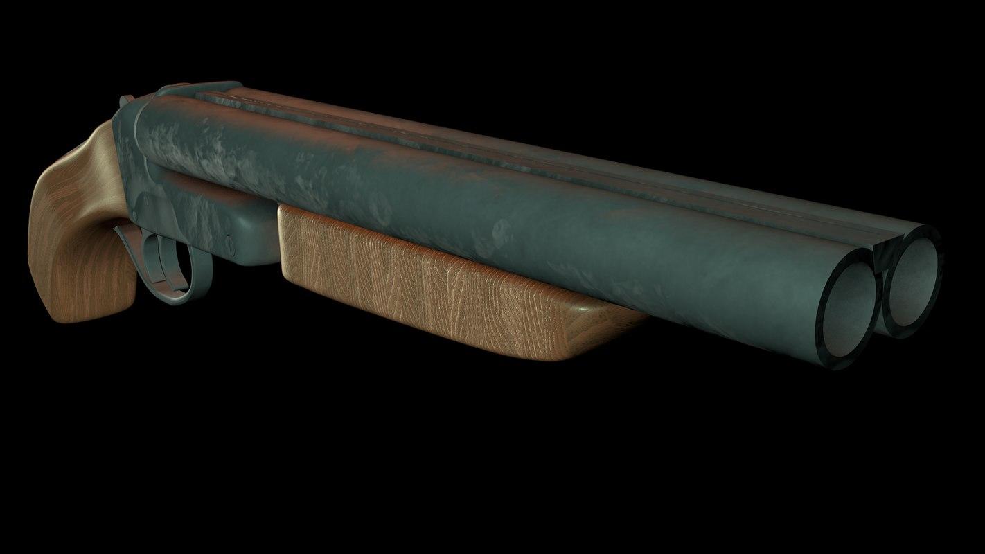 sawn-off double barrel c4d