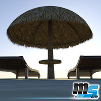 sunbeds and bamboo umbrella