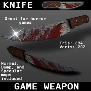 free knife weapon games 3d model