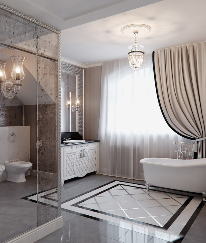art deco scene bathroom 3d max