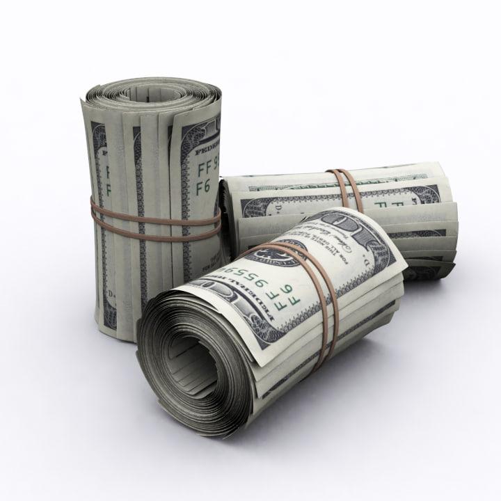 3d obj dollars roll