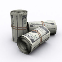 3d obj dollars roll