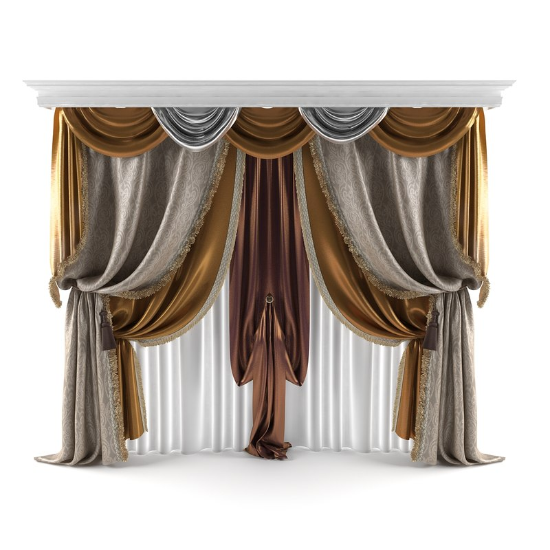 3d classical curtains model